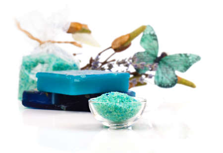 organic spa: Spa treatment with turquoise bath salts, on white background