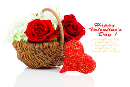 Red heart shape symbol made from thread with basket with roses on white background photo