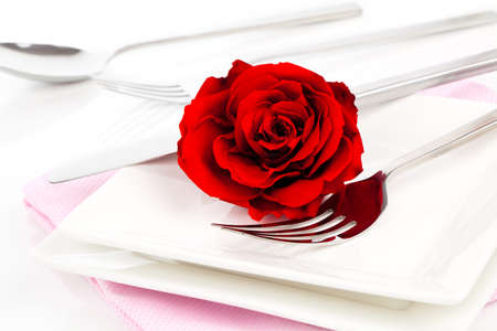 in loved: Valentines table setting with an gift box, to celebrate the holiday with a loved one