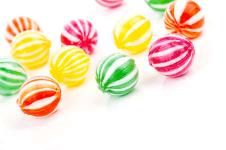 fruit candy: colored candies isolated on white. Stock Photo