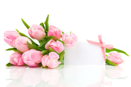 beautiful tulips with with blank for text on a white background. happy mothers day, romantic still life, fresh flowers