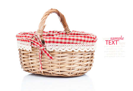 the basket: Empty wicker basket isolated on white Stock Photo