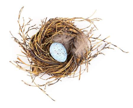 nido de pajaros: Huevo de Pascua en nido de aves aisladas sobre fondo blanco