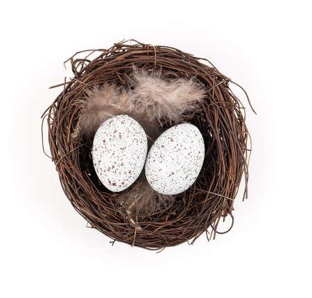 easter nest: Easter egg in birds nest isolated on white background