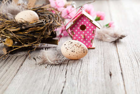 easter decoration on wooden background with color egg and with birdhouse, photo