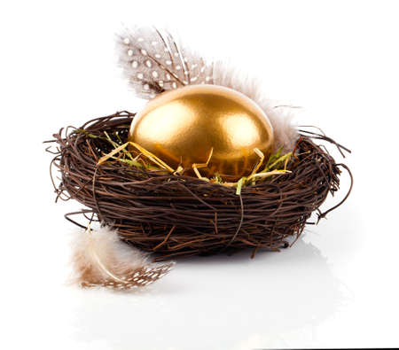 白い背景の上の巣に金の卵 写真素材 - 38450162