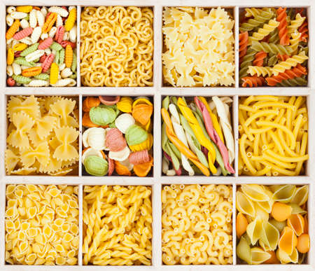pantry: Traditional Italian pasta background. Stock Photo