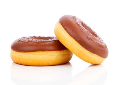 comida chatarra: Donut aislado sobre fondo blanco
