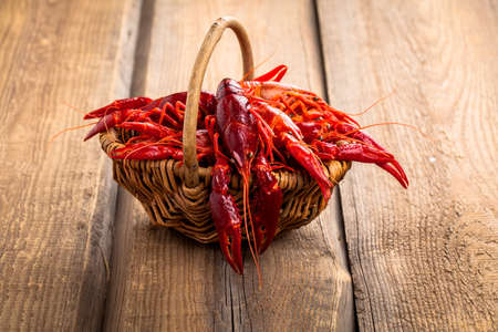 cancers: crawfish on wooden background