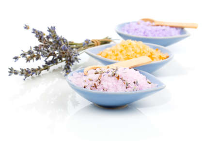 lavender coloured: Various types of spa sea salt in bowl,  on a white background