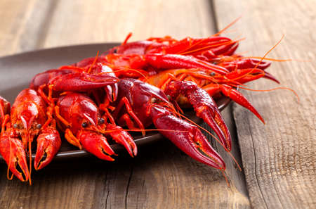 crawfish on wooden background