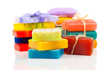 glycerin soap: Stack of new colorful Soap Bars on white background.