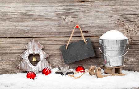 xmas background: Christmas decoration with xmas canes, over wooden background Stock Photo