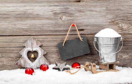 xmas background: Christmas decoration with xmas canes, over wooden background Stock Photo