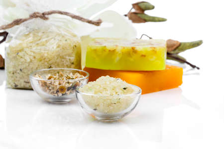 perfumed: Spa still life with bath salt, soap on white background