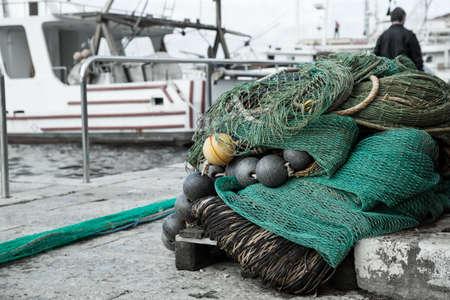 fishery: Fishing nets closeup