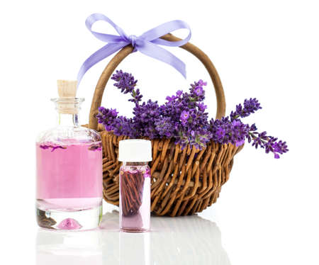bathsalt: fresh lavender blossoms with Natural handmade lavender oil, on white background