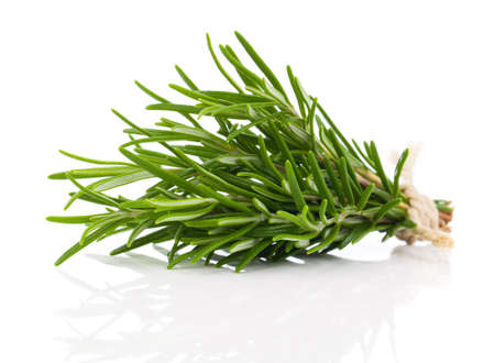tied fresh rosemary on a white background Stock Photo