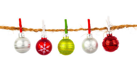 christmas baubles: Christmas bauble collection hang on rope, isolated on white background