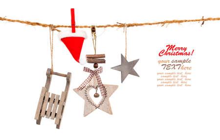 adornos navideños: Decoración de Navidad aislado más de fondo blanco  Foto de archivo
