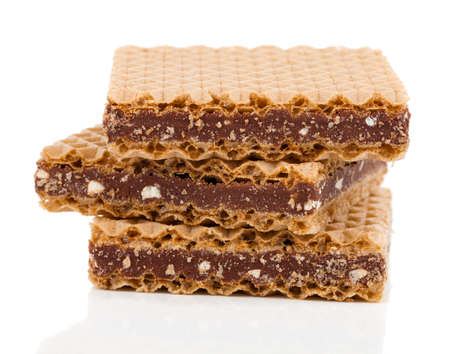 confectionery: Wafers with chocolate on a white background