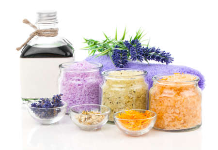 isolated on white: various kinds of bath salt with flowers, isolated on white background