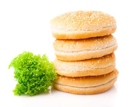 elapsed: Hamburger buns isolated on white