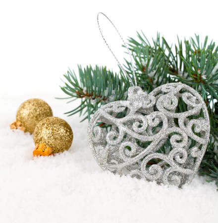 gold ornaments: xmas decoration with copy space, isolated over white