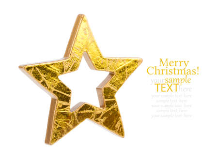 estrellas de navidad: Golden Christmas stars, isolated on white background Foto de archivo