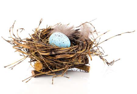 Huevo de Pascua en nido de aves aisladas sobre fondo blanco