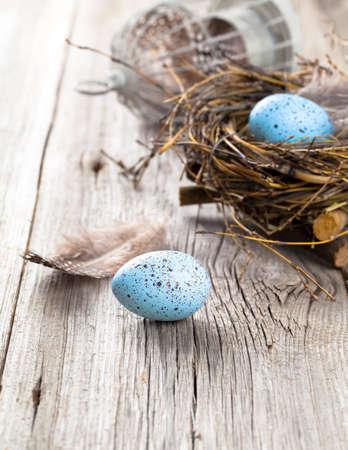 huevo: huevos en el nido sobre fondo de madera