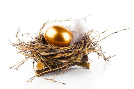 huevo blanco: Huevo de oro en jerarquía en el fondo blanco