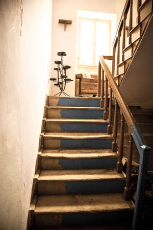 wooden stairs: Vintage stairs, selective focus on the wooden steps.