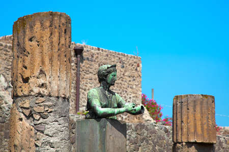 catastrophic: Statue of Diana with columns in Pompeii