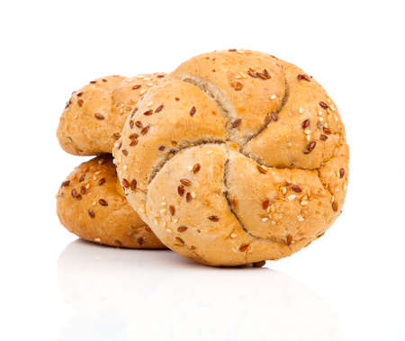 kaiser: Kaiser roll with sesame seeds, on a white background