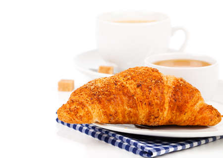 breakfast cup: Breakfast with fresh croissants, cup of coffee and honey on a white background