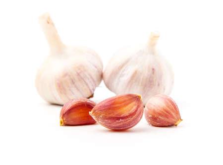 spiciness: Fresh garlic isolated on white background