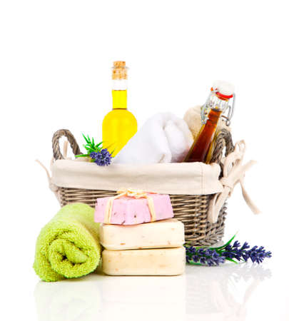 aroma: handmade lavender soap, and essential oil and fresh towel on white background. Beauty and health foundation