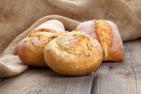 bollos: fresh bun on a wooden background