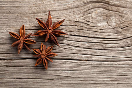 aromatic: anise on a wooden background