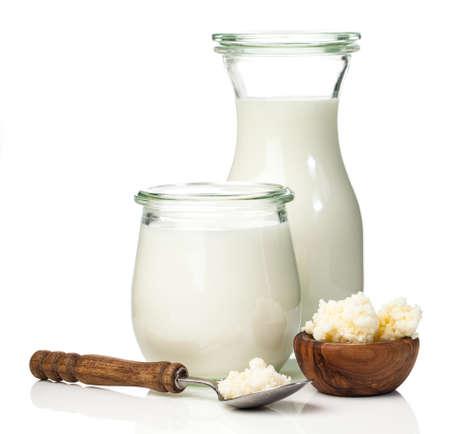 Milch Kefirkörner. Milchkefir oder Bélgaros ist ein fermentiertes Milchgetränk, das aus dem Kaukasus stammt und mit Kefirkörnern, einem Starter der Hefebakterien-Fermentation, hergestellt wird.