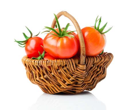 白い背景に新鮮なトマト 写真素材