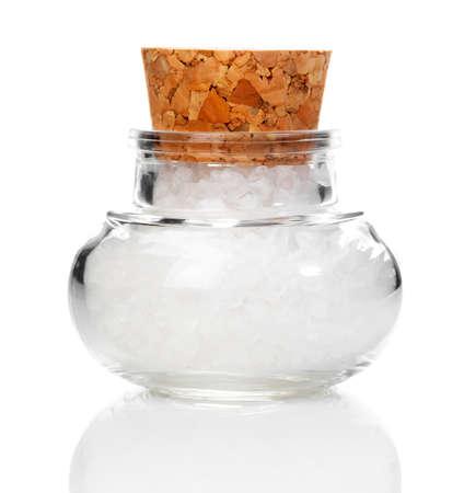 コルク瓶の塩, 白い背景に