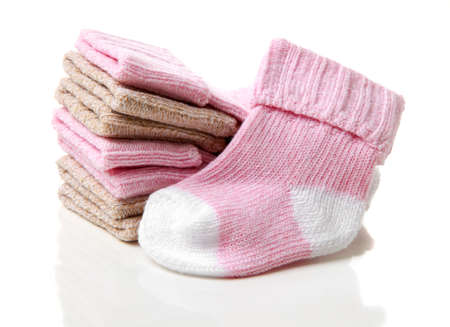 children knitted socks on a white background