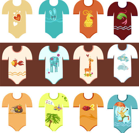 clothing baby set Vector
