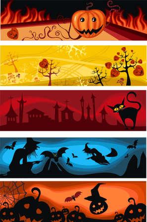 cobweb: halloween banner set