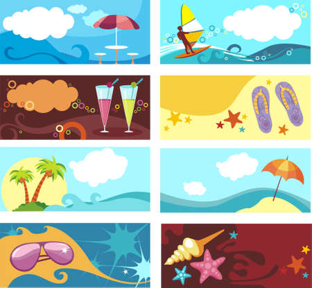summer set of bussines cards Vector