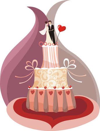 pastel de boda  Vectores