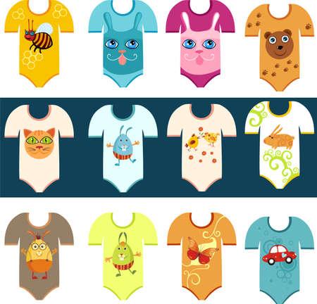 ni�os vistiendose: conjunto de ropa de beb� Vectores