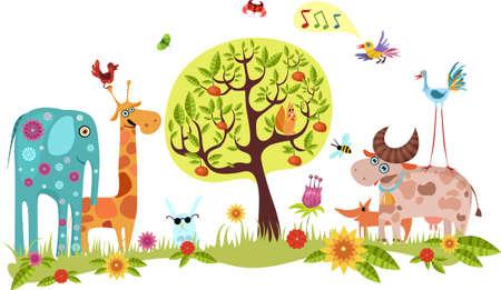 schattige dieren cartoon: dieren  Stock Illustratie